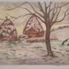 Landscape with Haystacks - A3 Poster