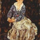 Portrait of Edith Schiele sitting by Schiele - A3 Poster