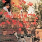 Red Geraniums by Hassam - 30x40 IN Canvas