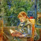 Little girl, reading by Morisot - A3 Poster