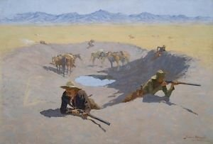 Remington - Fight for the Waterhole - A3 Paper Print