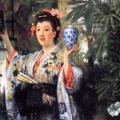 A young woman holds Japanese goods by Tissot - 24x18 IN Canvas