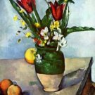 Still Life, Tulips and Apples by Cezanne - 24x18 IN Canvas