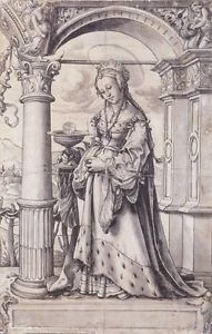 St Barbara, design for a stained glass window. c.1519-21 - A3 Poster