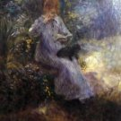 Woman with a black dog by Renoir - 24x18 IN Canvas
