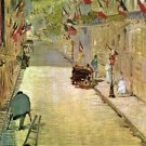 Rue Mosnier with Flags by Manet - A3 Poster