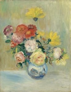 Vase of Roses and Dahlias, 1883-84 - 24x18 IN Canvas