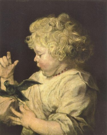 Portrait of a child with bird by Van Dyck - 24x18 IN Canvas