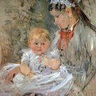 Julie with her nurse by Morisot - 24x18 IN Canvas