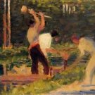 Men laying stakes 1882 - 24x32 IN Canvas