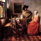 Glass of wine by Vermeer - 30x40 IN Canvas