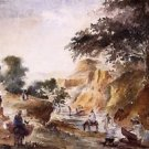 Landscape with Figures by a River, 1953-54 - 24x32 IN Canvas