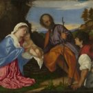 Titian - The Holy Family with a Shepherd - 24x18IN Canvas Painting