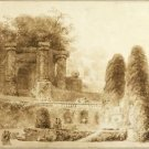 Roman park with a fountain (1774) - 24x32 IN Canvas