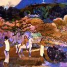 Woman an a White Horse by Gauguin - 24x18 IN Canvas