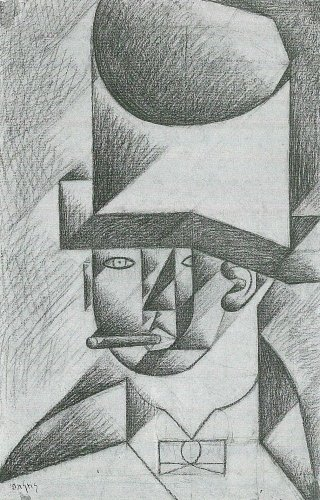 Head of a man with cigar by Juan Gris - 24x18 IN Canvas