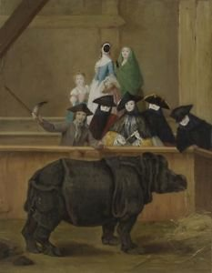 Pietro Longhi - Exhibition of a Rhinoceros at Venice - 24x18IN Canvas Painting