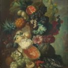 Jan van Os - Fruit, Flowers and a Fish - 24x18IN Canvas Painting