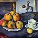 Still life with a bottle and apple cart by Cezanne - 24x18 IN Canvas