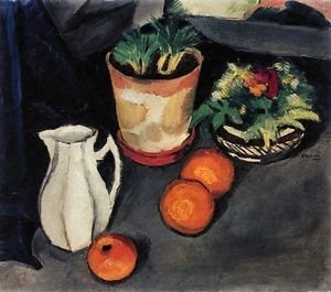 Still Life with Flowers and Milk Jug by August Macke - 24x32 IN Canvas