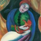 Girl with a Cat II by Franz Marc - 24x32 IN Canvas