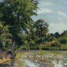Old Woman with Ducks at Montfoucault, 1875 - 24x32 IN Canvas