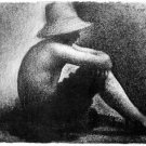 Sitting boy in straw hat by Seurat - A3 Poster
