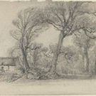 Landscape with Trees, Cottage, and Farm Wagon, 1858 - 30x40 IN Canvas