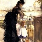 1870 Woman and child on  a balcony - 24x18 IN Canvas