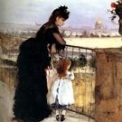 1872 Woman and child on  a balcony - 24x18 IN Canvas