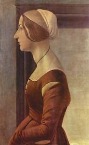 Portrait of a young woman by Botticellli - 24x18 IN Canvas