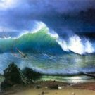 The coast of the Turquoise sea by Bierstadt - 24x32 IN Canvas