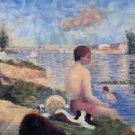 Final Study for Bathing at Asnieres, 1884 - 24x18 IN Canvas