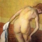 Woman Drying with towel and sponge by Degas - 24x18 IN Canvas