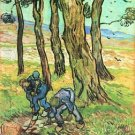 Two men in digging out a tree stump by Van Gogh - Poster (24x32IN)