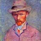 Self-portrait with gray hat by Van Gogh - Poster (24x32IN)