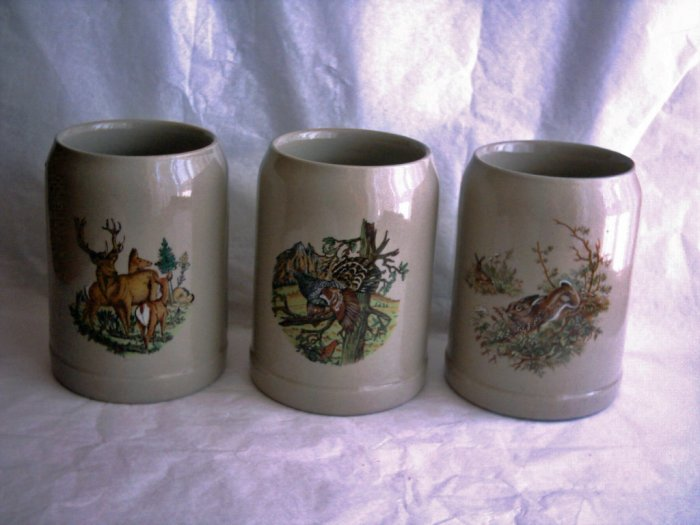 Wildlife Scenes German Beer Krugs, Set of 3