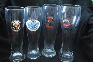 4 Assorted Weisse German Beer Glasses