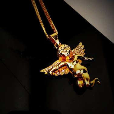 "Cubid God Wing Angel charm love choker hip hop gold plated 27"" pendant necklace"