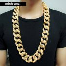 JayZ Mens hip hop  cuban franco Miami chain link chunky Iced Out 3cm gold thick necklace 30""