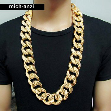 """JayZ Mens hip hop  cuban franco Miami chain link chunky Iced Out 3cm gold thick necklace 30"""""""