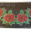Leather Checkbook Cover, Roses Design (14474)