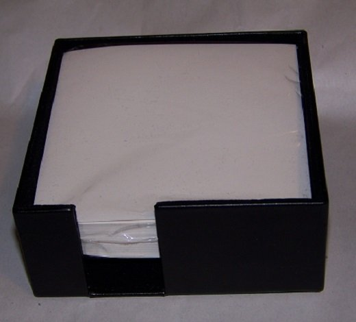 "Black Leather Memo Holder 4-1/4"" sq. D412"