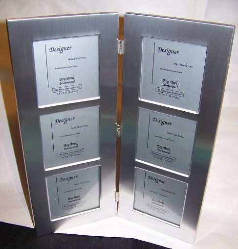 Double Panel Triple Frame Brushed Metal  3 x 3 Photos  SF82-03TD