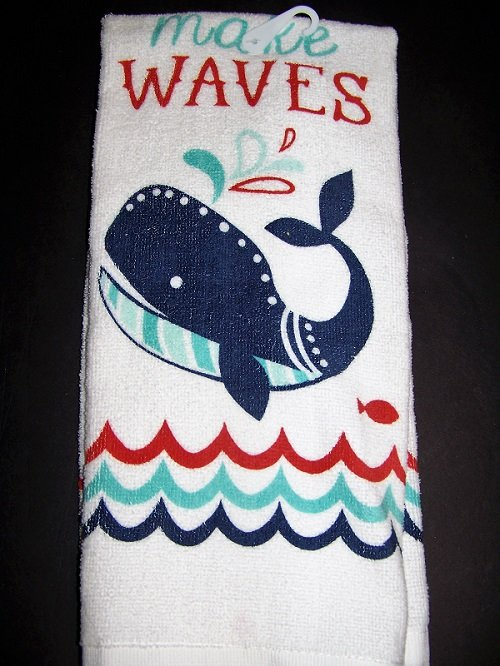 "Ritz Kitchen Towel Whale ""Don't make waves"" 16 in x 26 in Cotton"