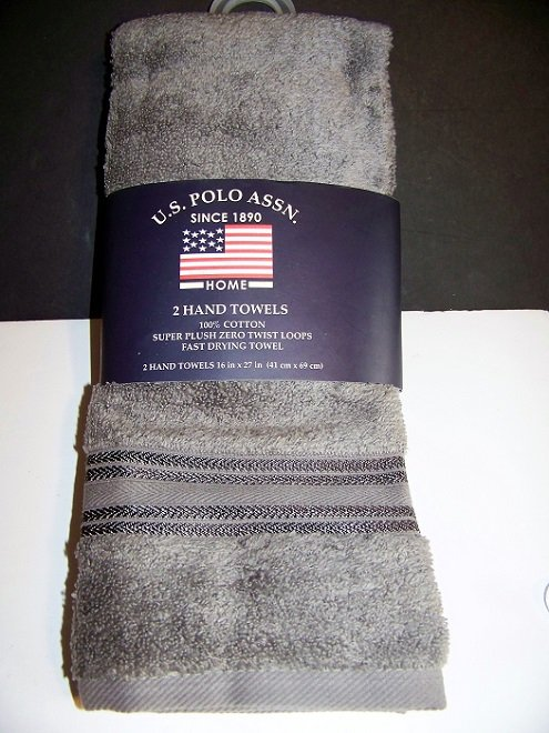 U.S. Polo Assn. Premium Zero Twist  Hand Towels 2pc Set  16 in x 27 in. GUNMETAL GRAY