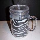 Acrylic Zebra Print Mason Jar with Straw