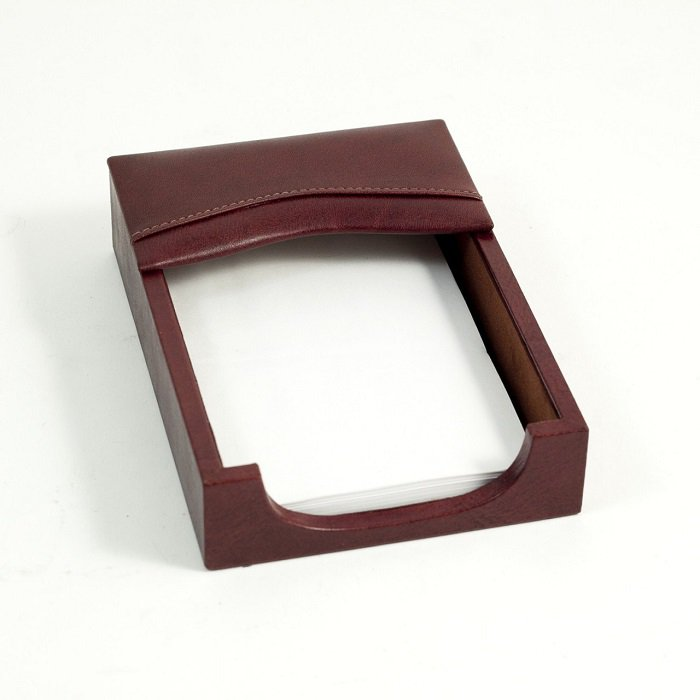"Memo Holder Tan Leather 4-1/4"" sq. D1112"