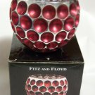 Fitz & Floyd Optic Votive Holder Red with Silver Accents