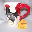 Boston Warehouse Damask Rooster Mug (has chip on handle)  18 fl.oz.